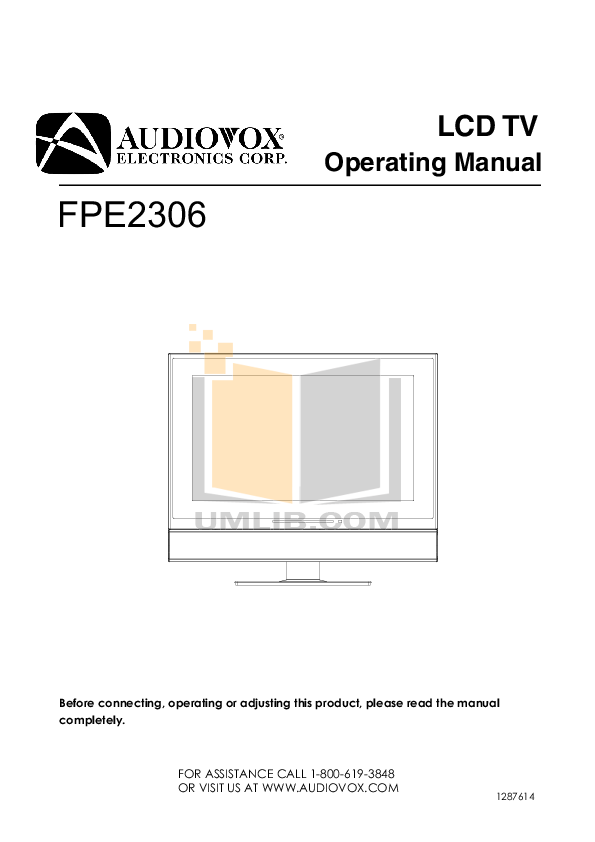 pdf for Audiovox TV FPE2306 manual