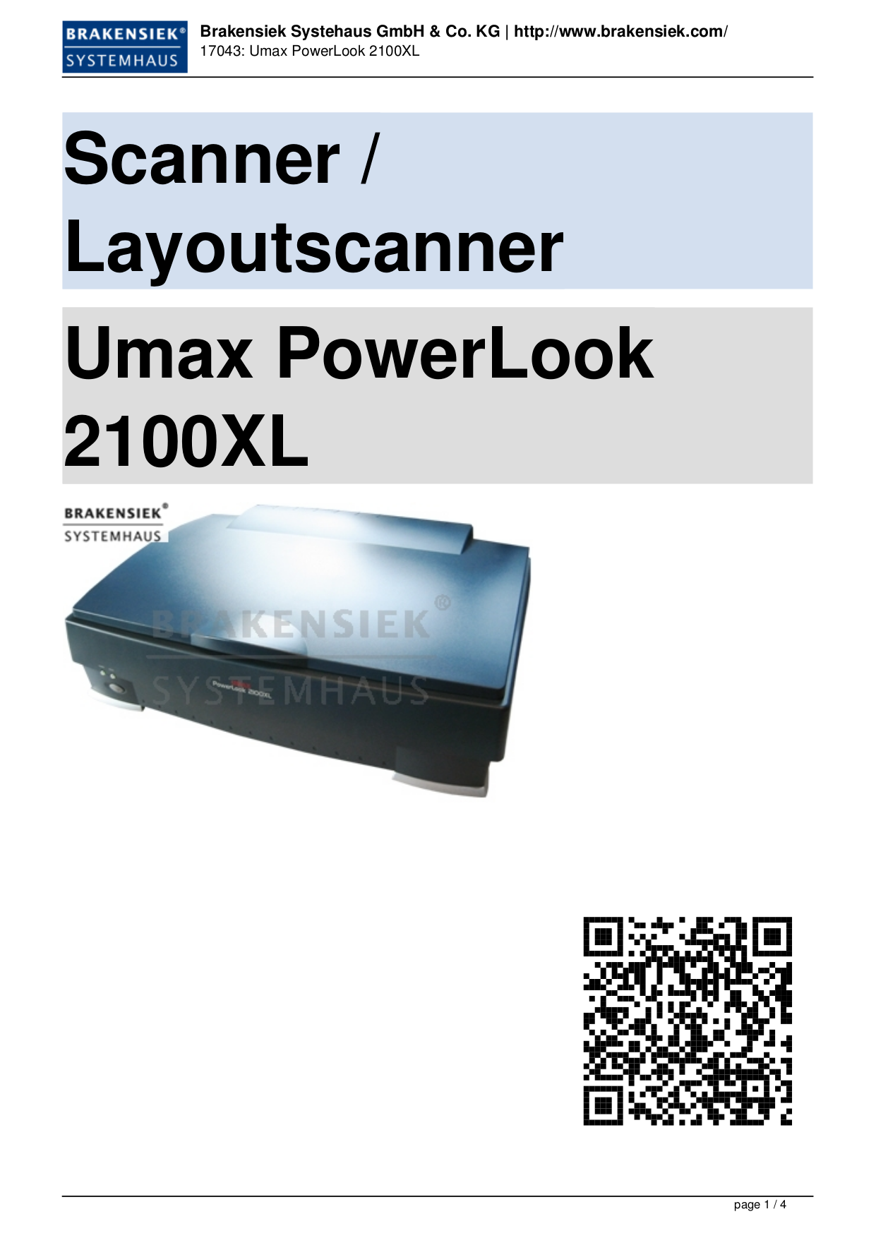 Umax Scanner PowerLook 2100XL pdf page preview