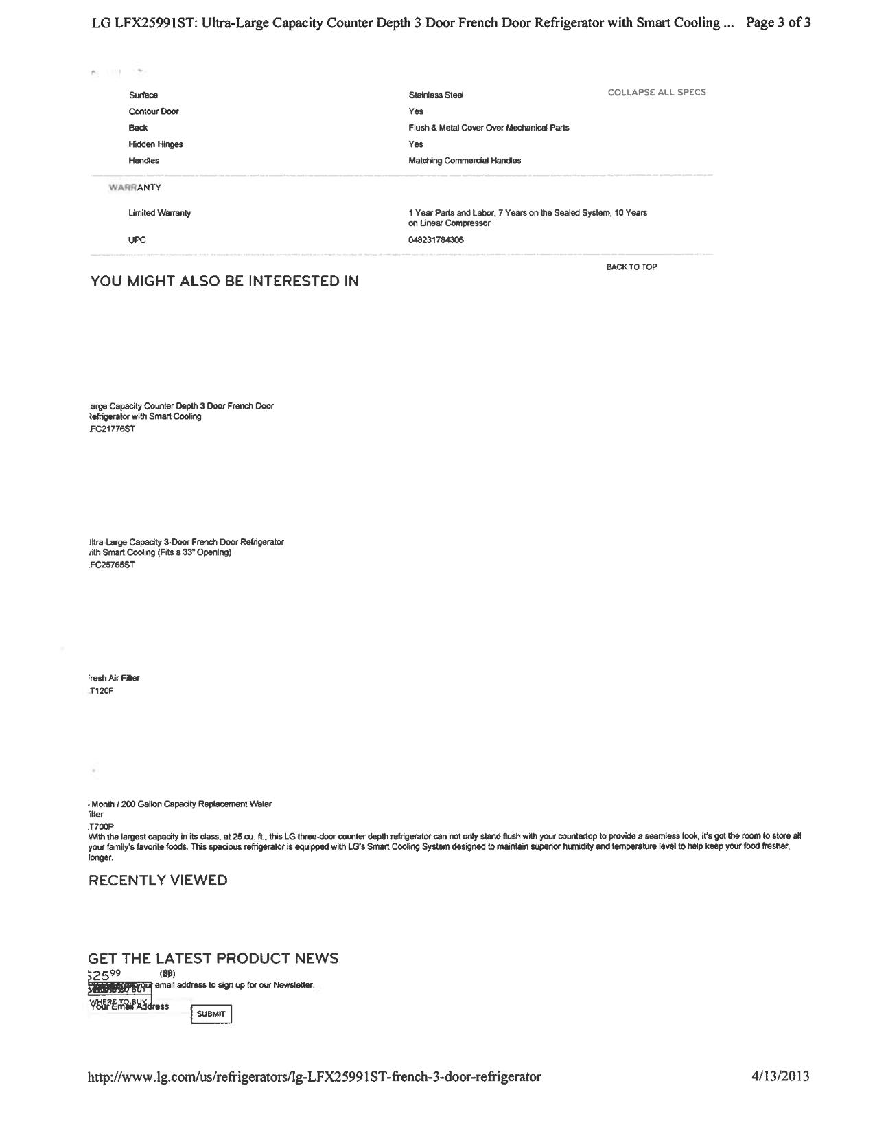 PDF manual for LG Refrigerator LFX25991ST