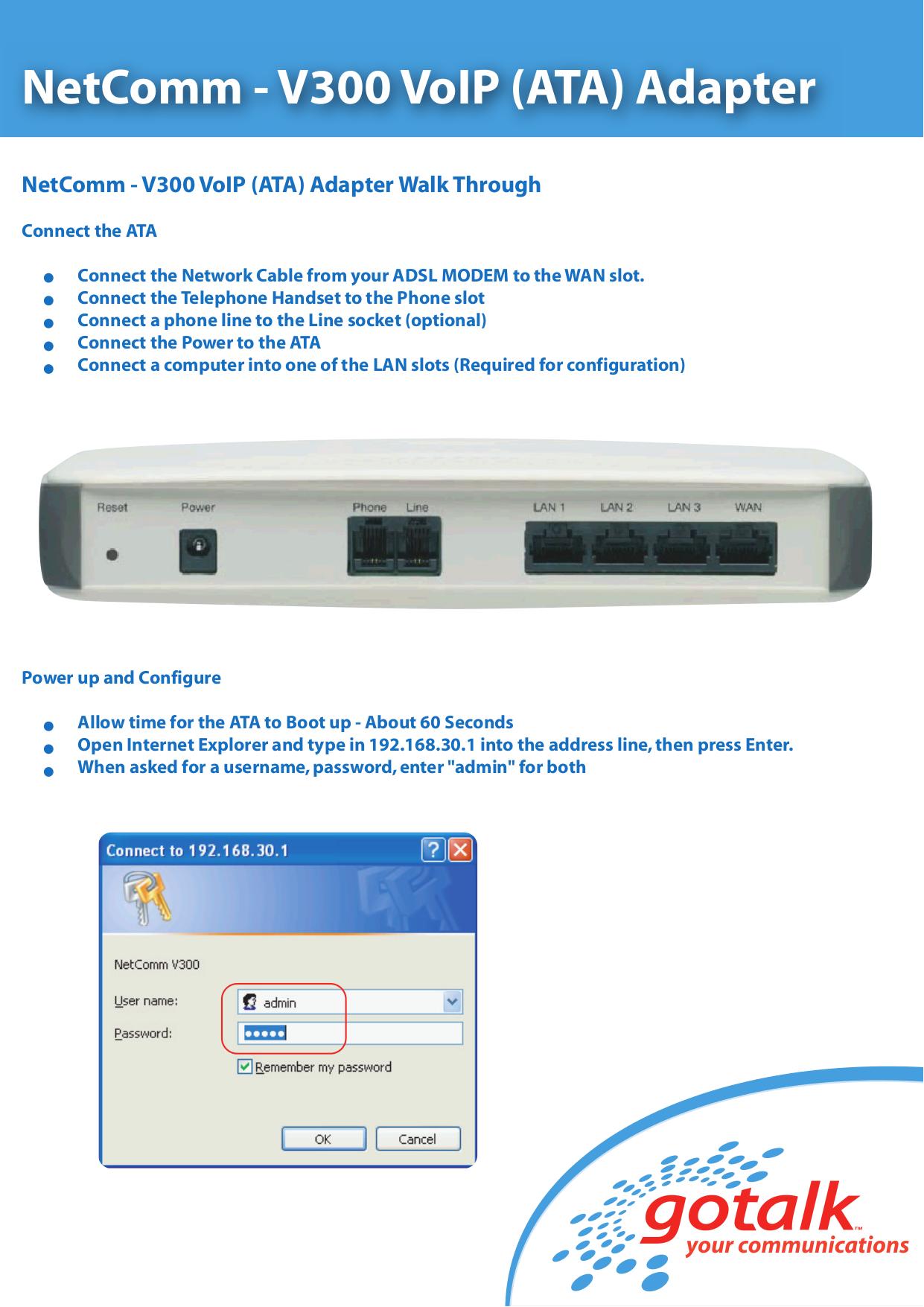 pdf for Netcomm Router V300 manual