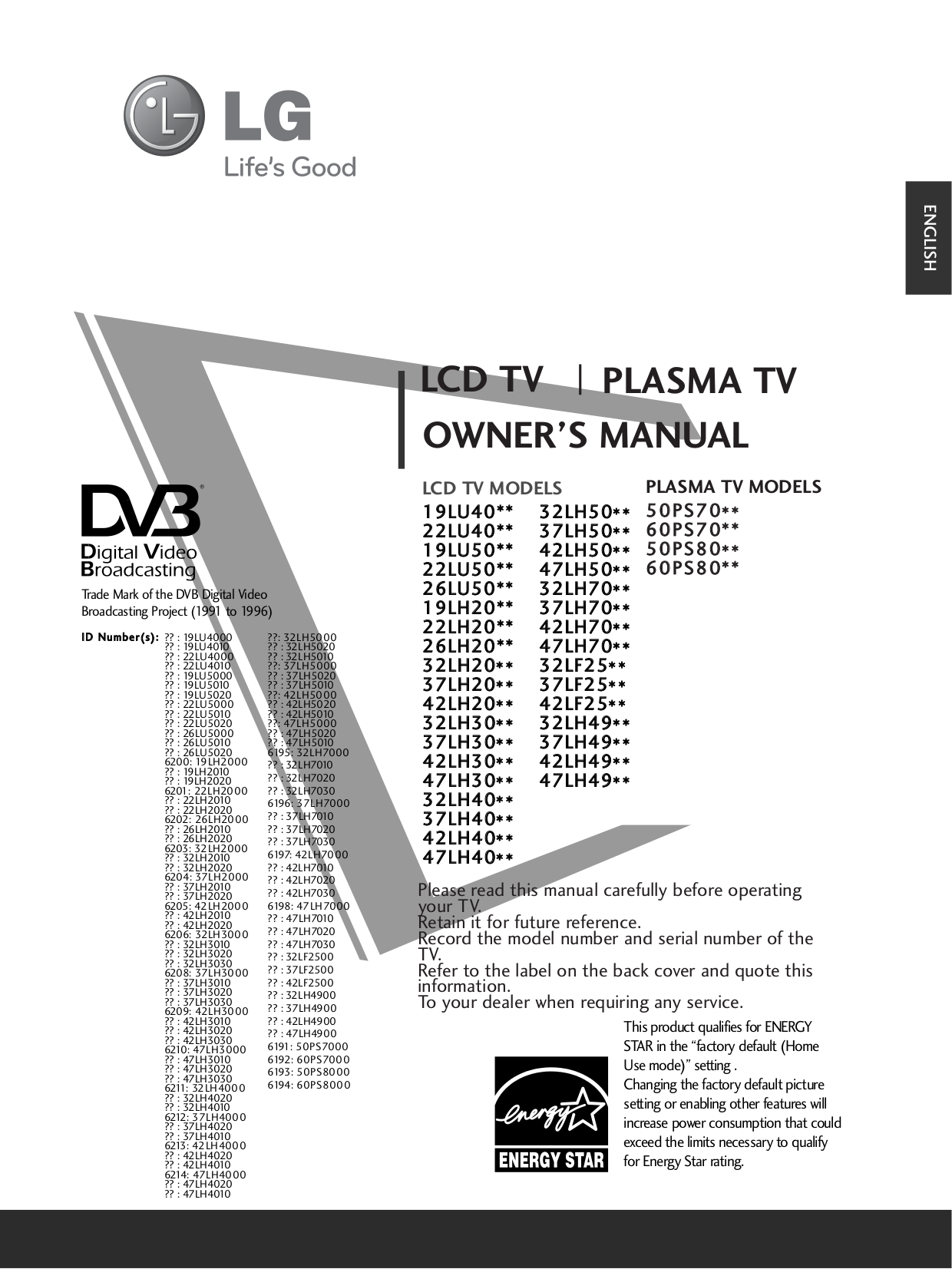 pdf for LG TV 42LH50 manual