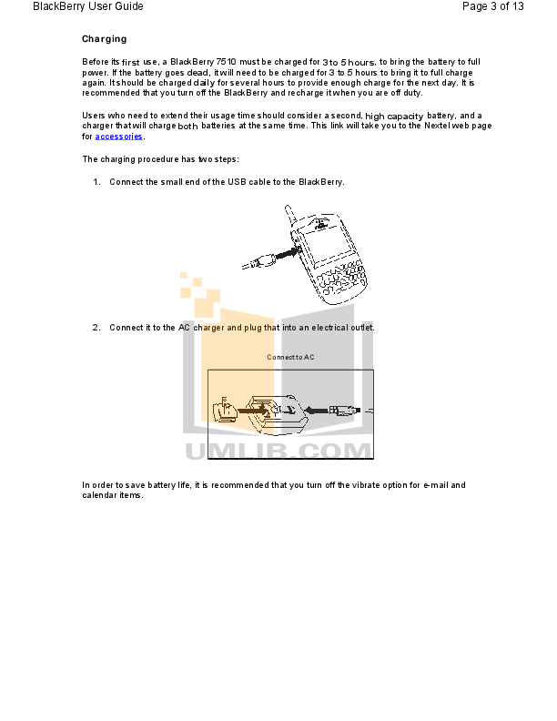 Blackberry Cell Phone 7510 pdf page preview