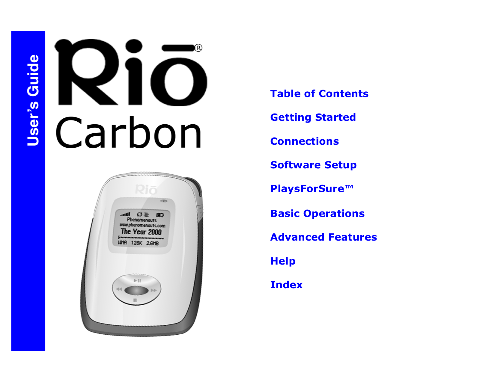 Download free pdf for Rio Carbon MP3 Player manual