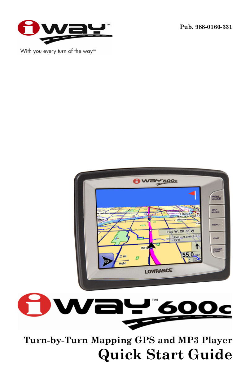 pdf for Lowrance GPS iWAY 600C manual