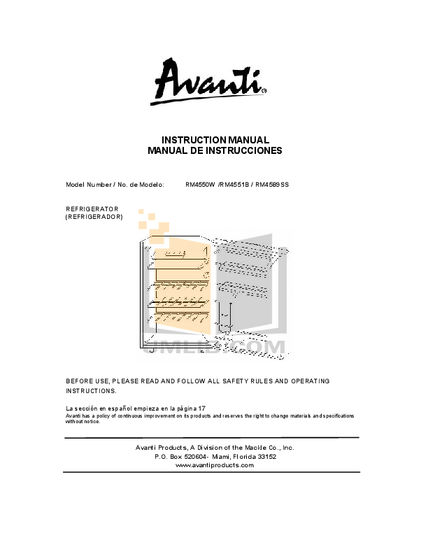 pdf for Avanti Refrigerator RM4589SS-2 manual