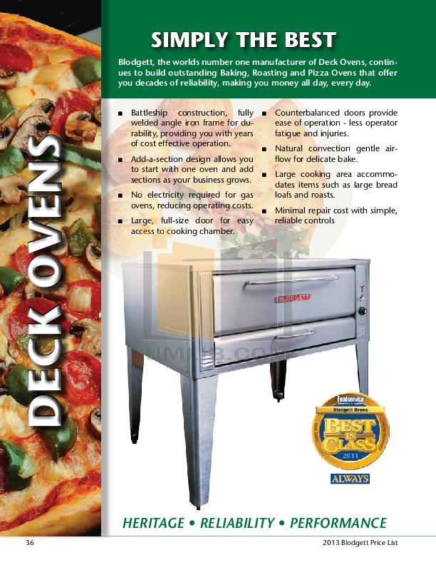 pdf for Blodgett Oven 911 Base manual