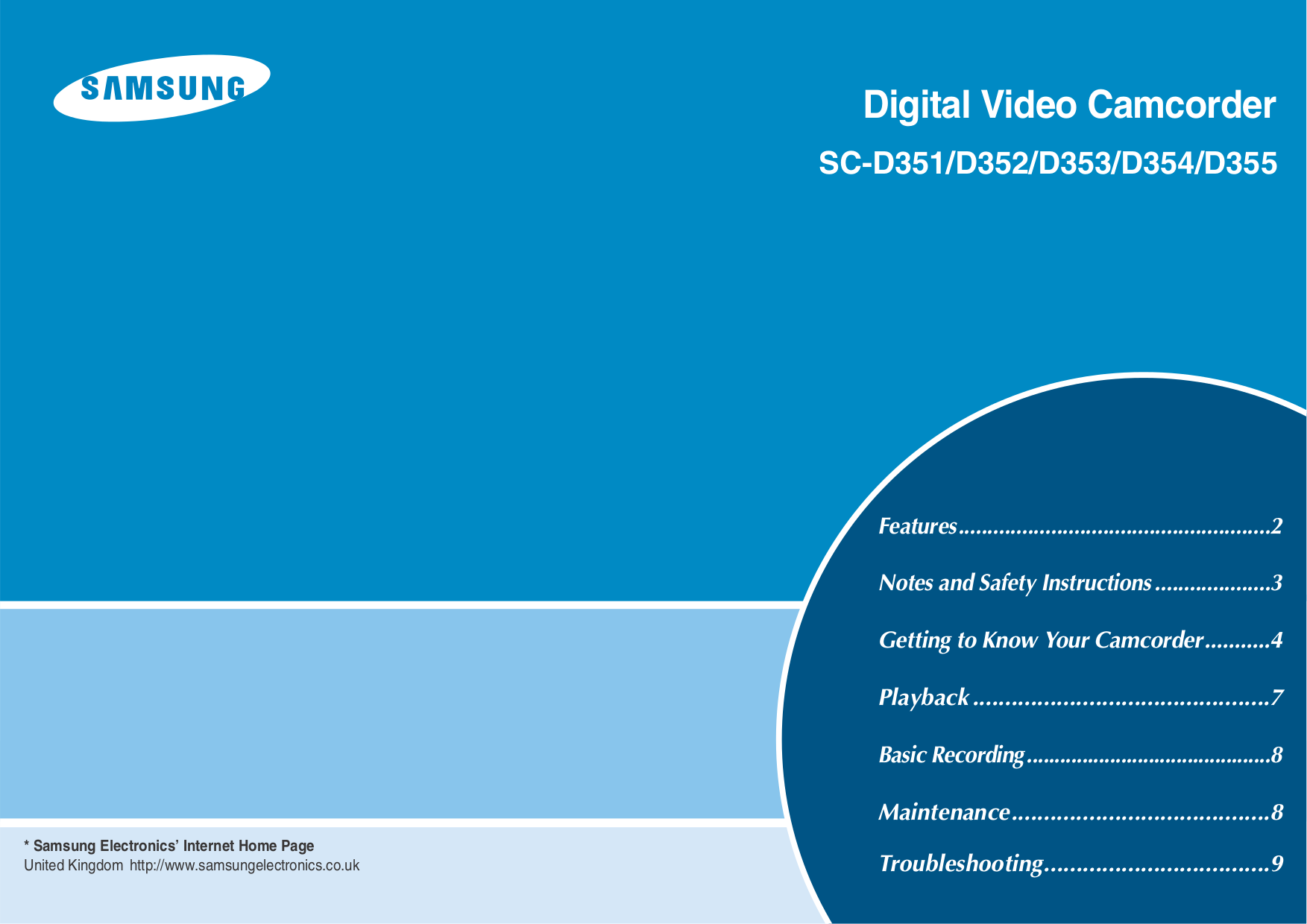 pdf for Samsung Camcorders SC-D351 manual