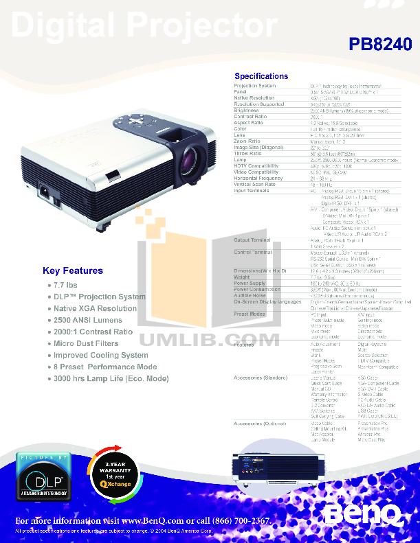 pdf for Benq Projector PB8240 manual