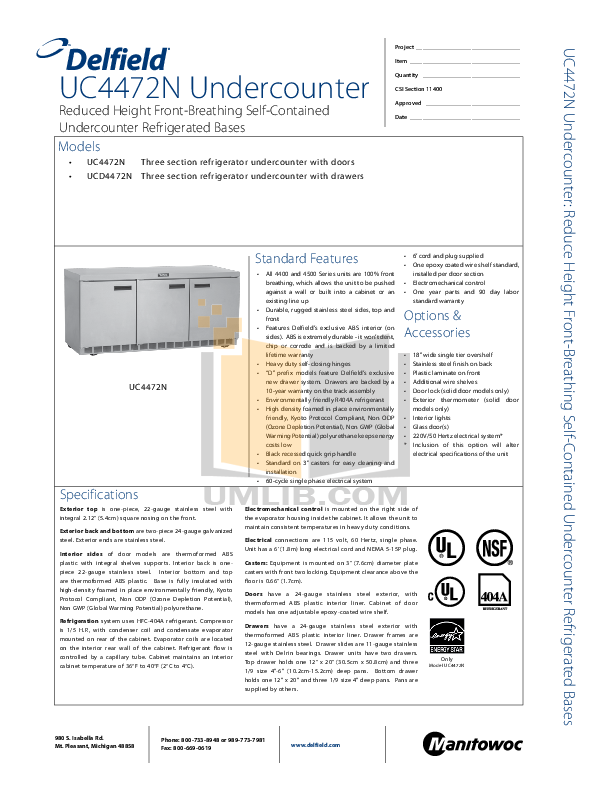 pdf for Delfield Refrigerator UCD4472N-12 manual