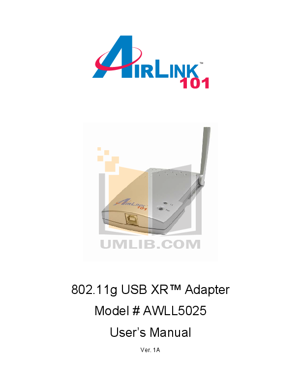 pdf for Airlink Other AWLL5025 Adapters manual