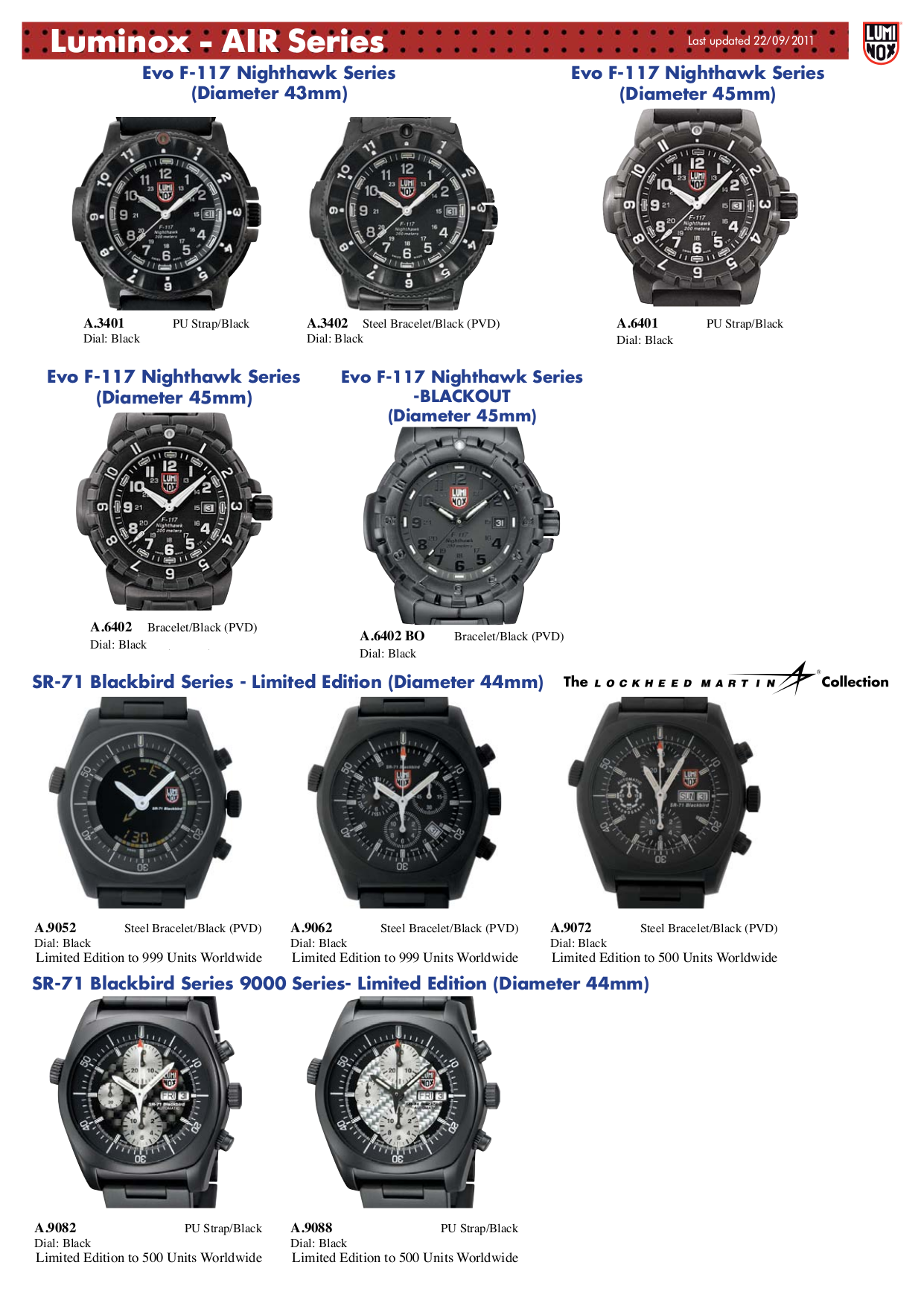 pdf for Luminox Watch EVO F-117 Nighthawk 6401 manual