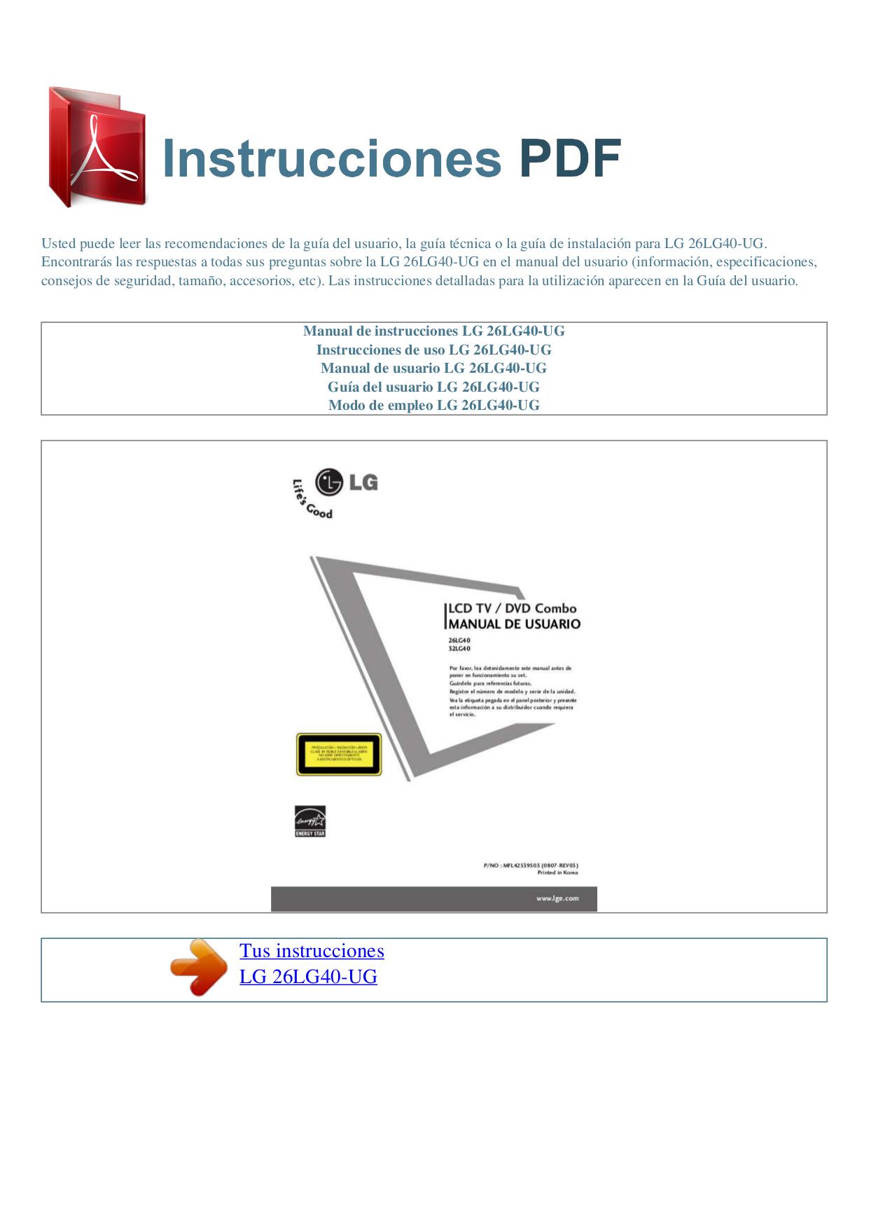 pdf for LG TV 26LG40 manual