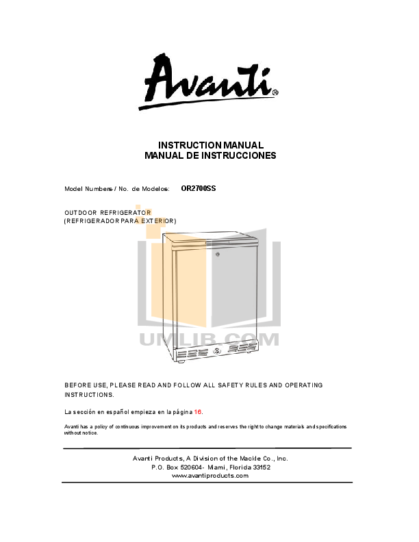 pdf for Avanti Refrigerator OR2700SS manual