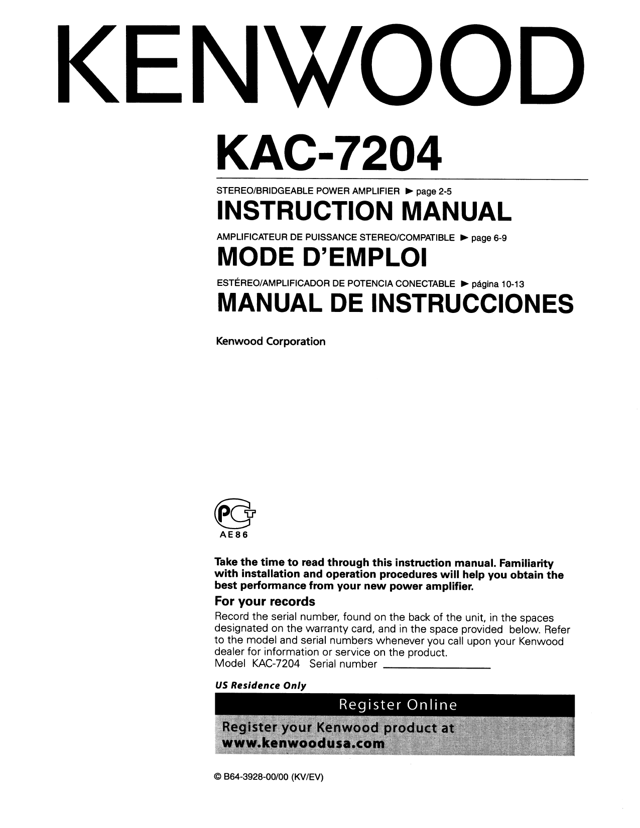 Download Free Pdf For Kenwood Kac 7204 Car Amplifier Manual Kdc 119 Wiring Diagram