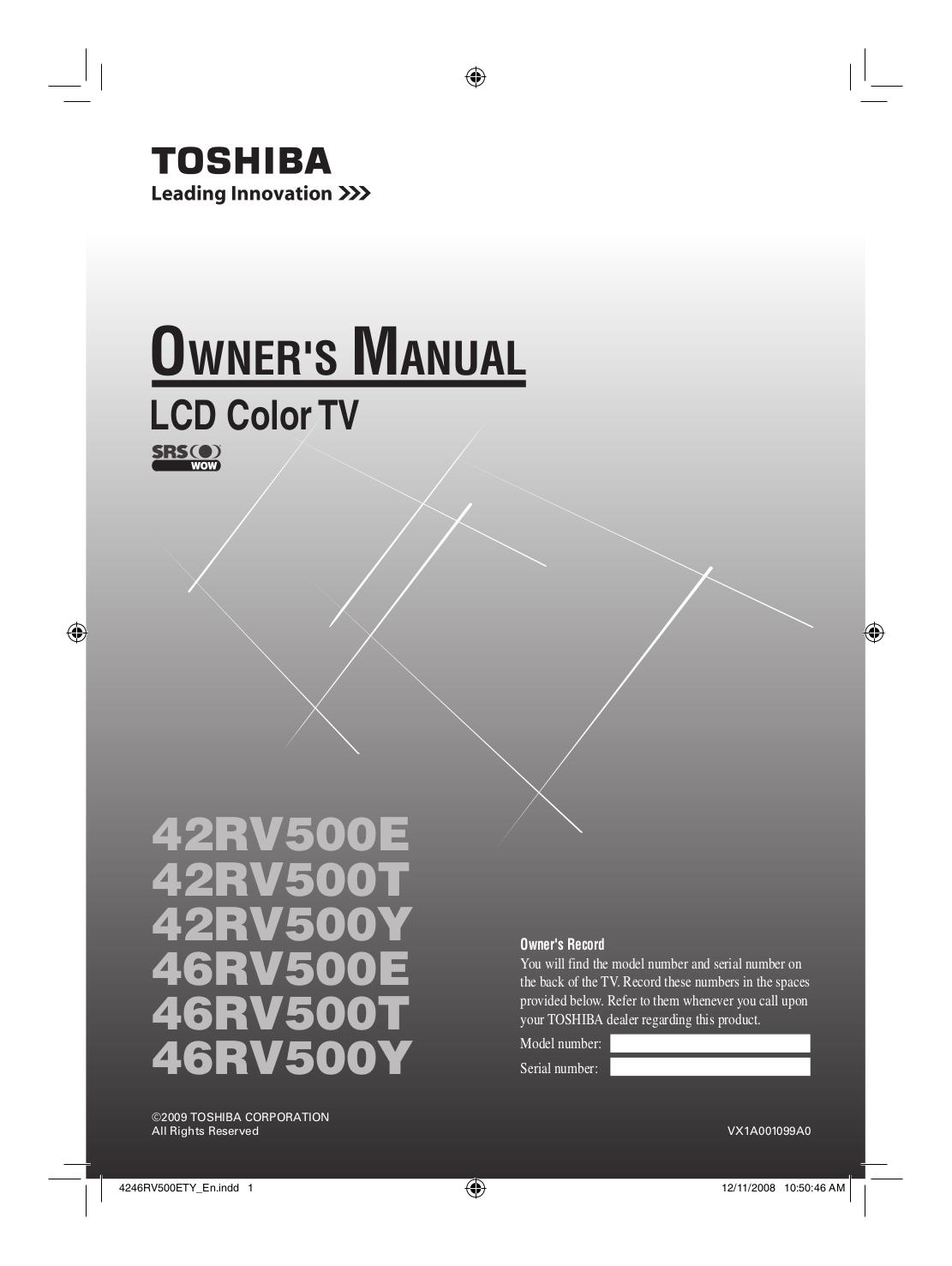 download free pdf for toshiba regza 42rv530u tv manual rh umlib com Corvette Owners Manual User Manual