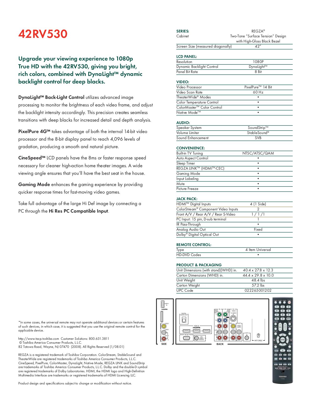 42rv530u Manual Pdf