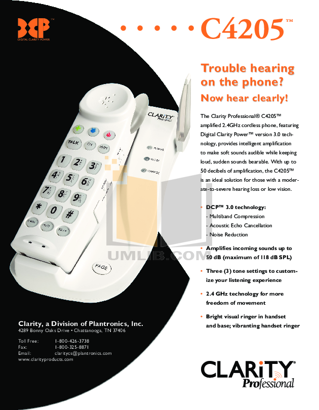 pdf for Clarity Telephone C4205 manual