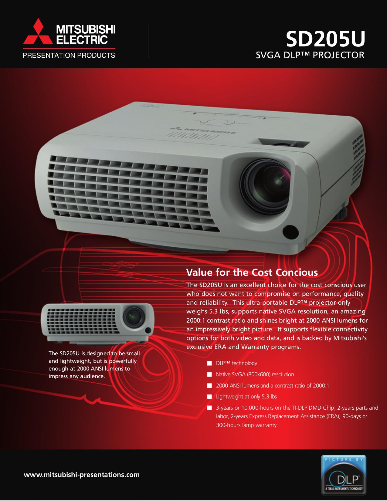 Download free pdf for mitsubishi sd205u projector manual