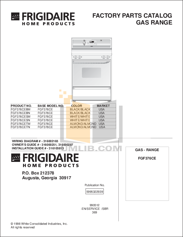 pdf for Frigidaire Range FGF376CETM manual