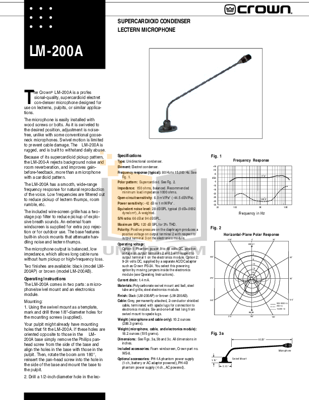 pdf for Crown Other LM-200A Microphones manual