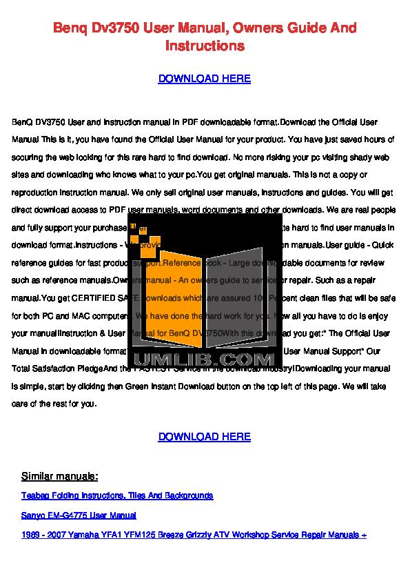 pdf for Benq Projector PB6100 manual