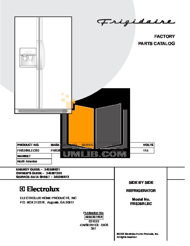 pdf for Frigidaire Refrigerator FRS26RLECS0 manual
