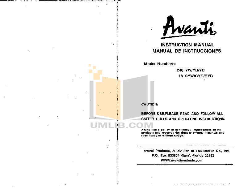 pdf for Avanti Refrigerator 248YW manual