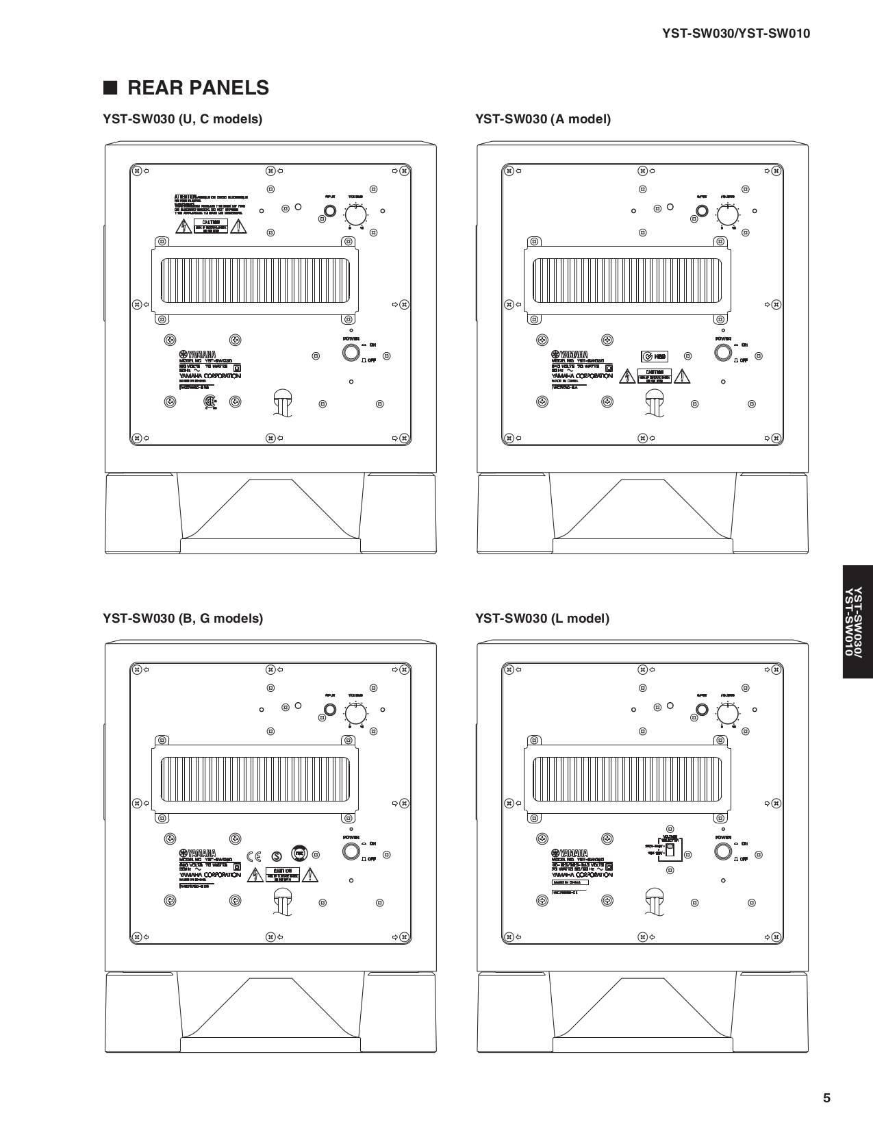 Yamaha Subwoofer YST-SW030 pdf page preview
