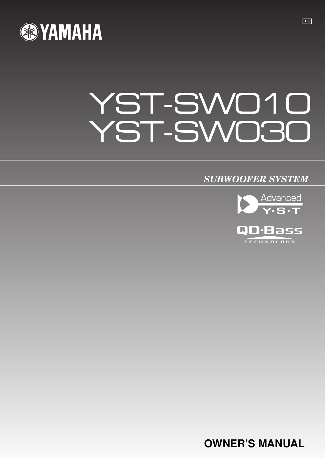 pdf for Yamaha Subwoofer YST-SW030 manual