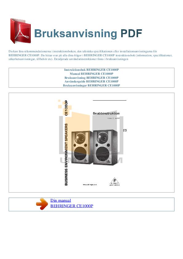 pdf for Behringer Speaker CE1000P manual
