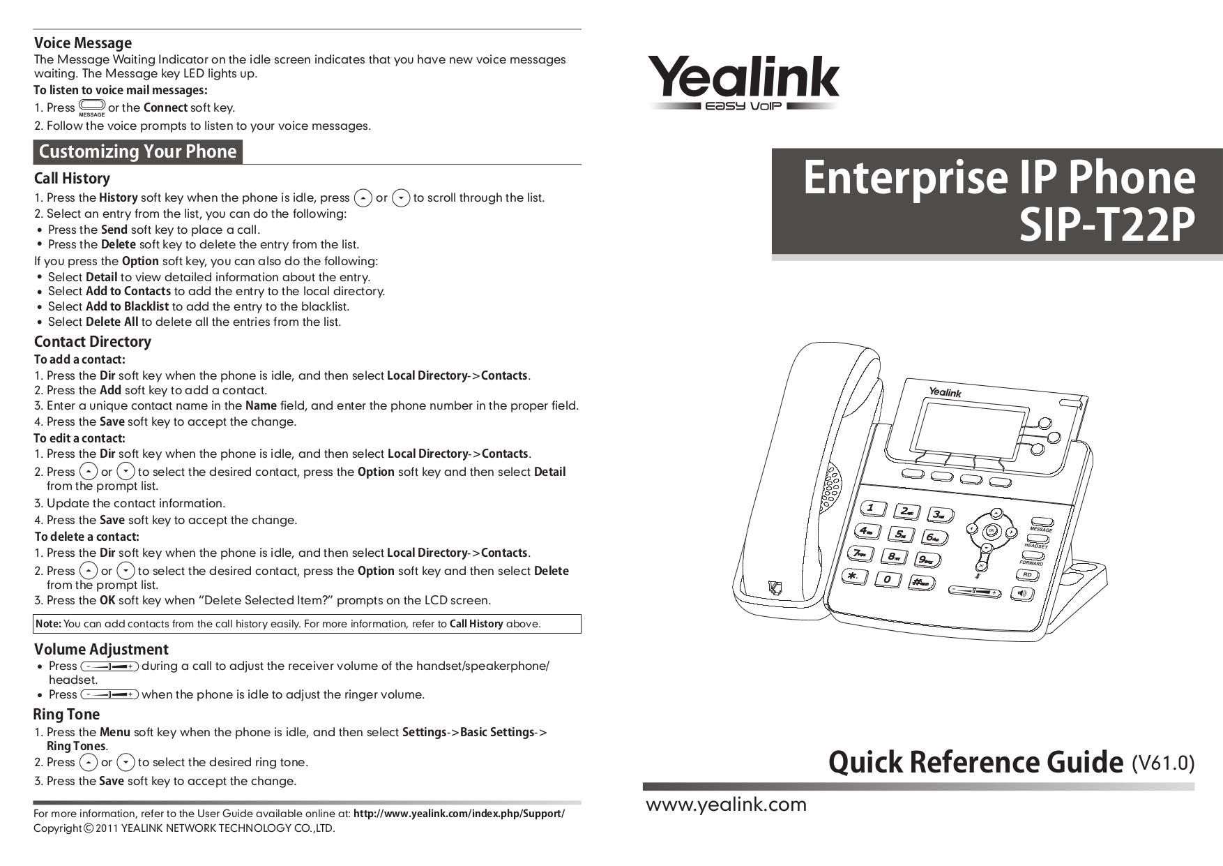 Download Free Pdf For Yealink T22p Telephone Manual Manual Guide