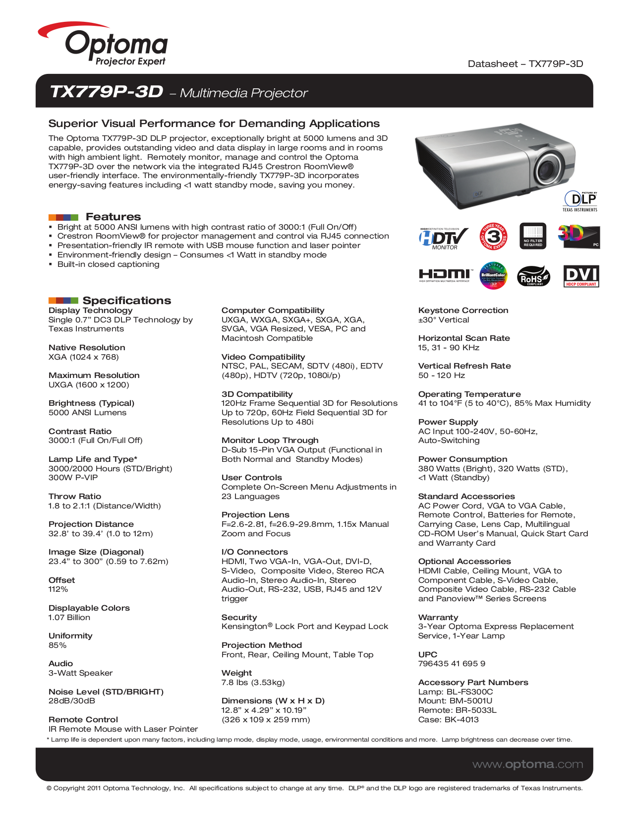 pdf for Optoma Projector TX779P-3D manual