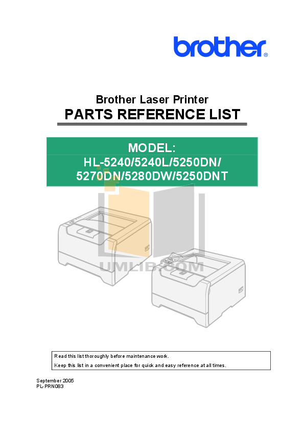 pdf for Brother Printer HL-5270DN manual