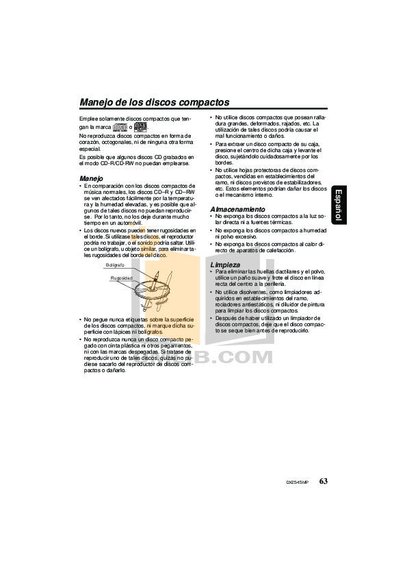PDF manual for Clarion Car Receiver DXZ545MP