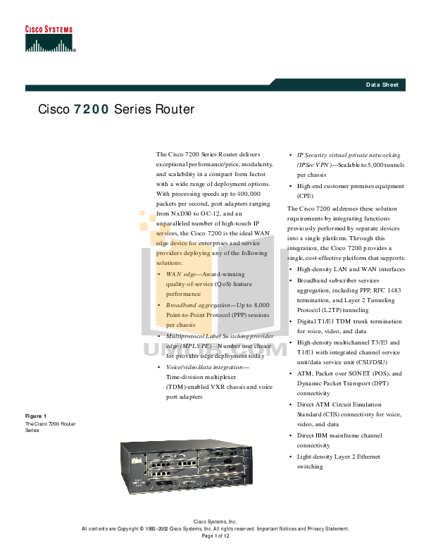pdf for Cisco Router 7206VXR manual