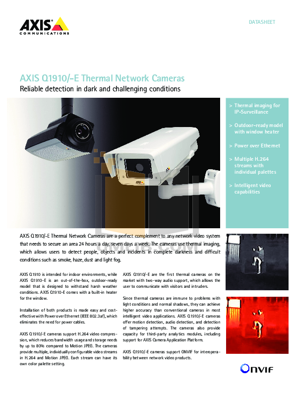 pdf for Axis Security Camera Q1910-E manual