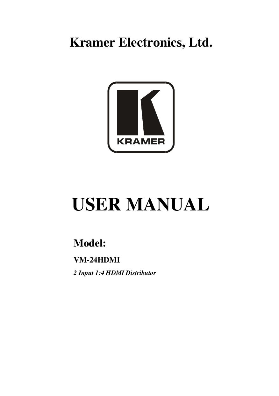 pdf for Kramer Other VM-4HDMI Distribution Amplifiers manual