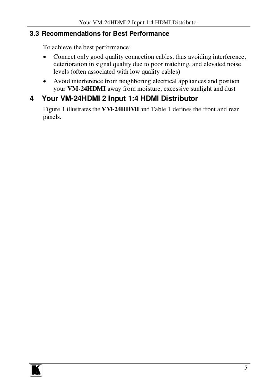 Kramer Other VM-4HDMI Distribution Amplifiers pdf page preview