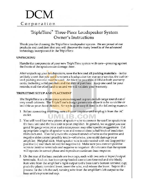 pdf for Dcm Speaker System TripleTime manual