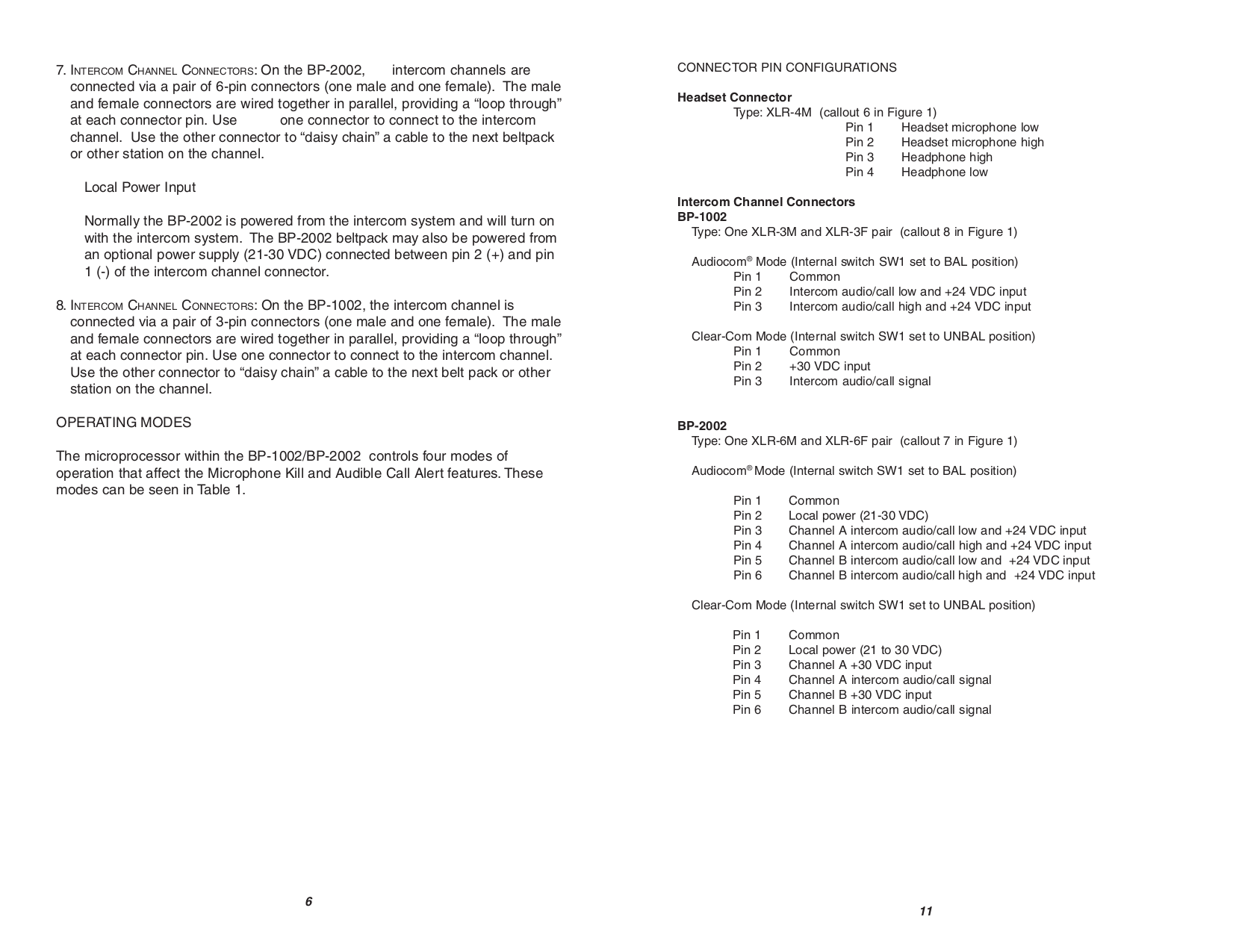 PDF manual for Telex Other BP-1002 Intercom System