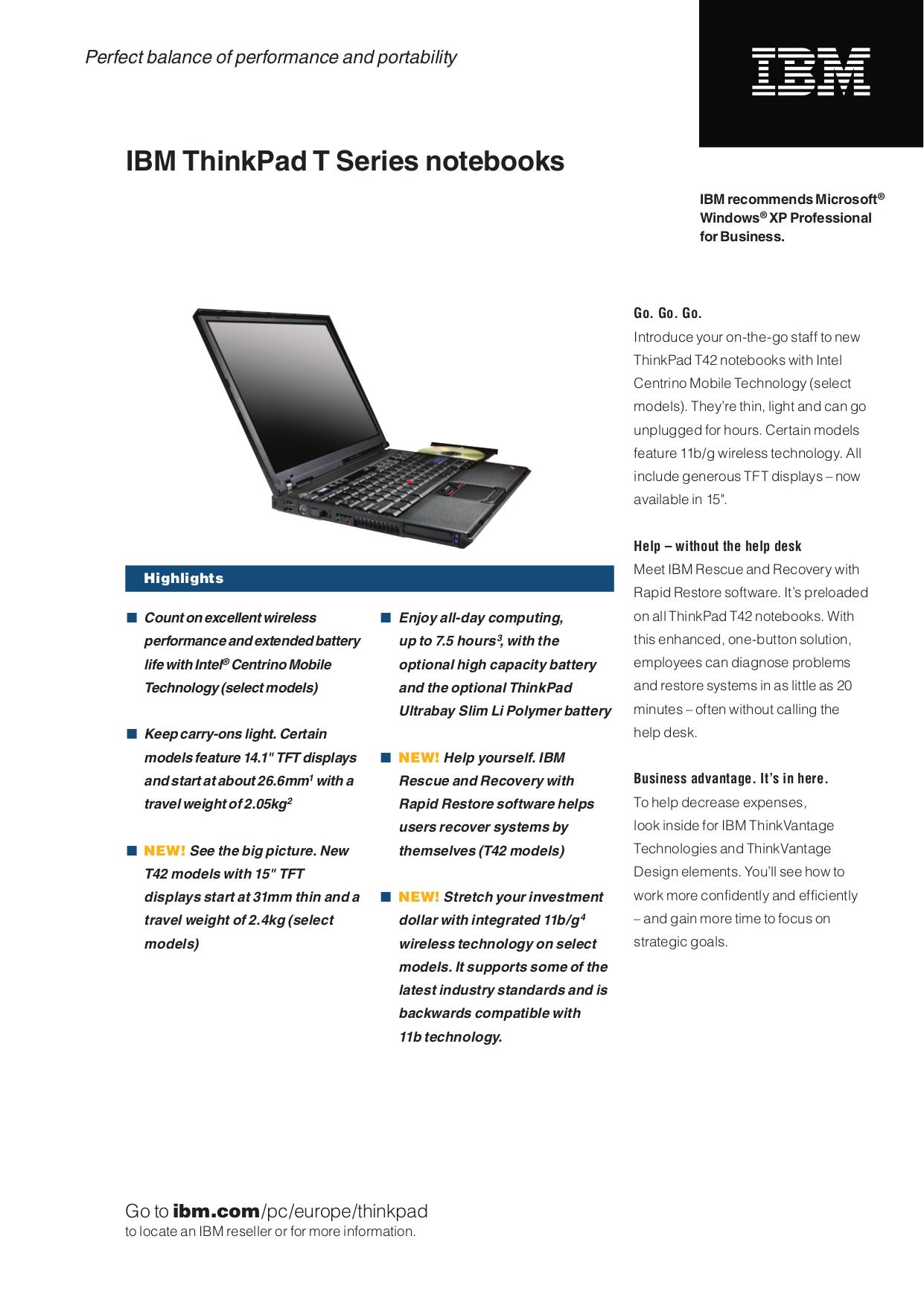 pdf for IBM Laptop ThinkPad T41p manual