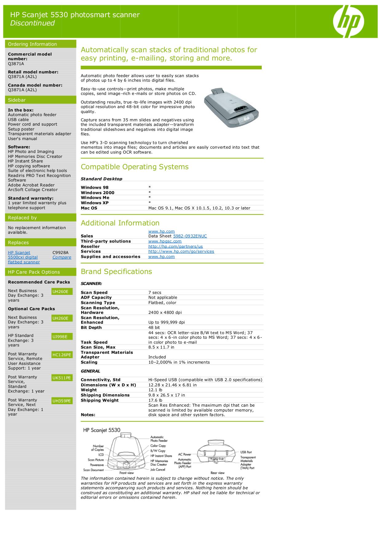 Download free pdf for HP Scanjet 5530 Scanner manual