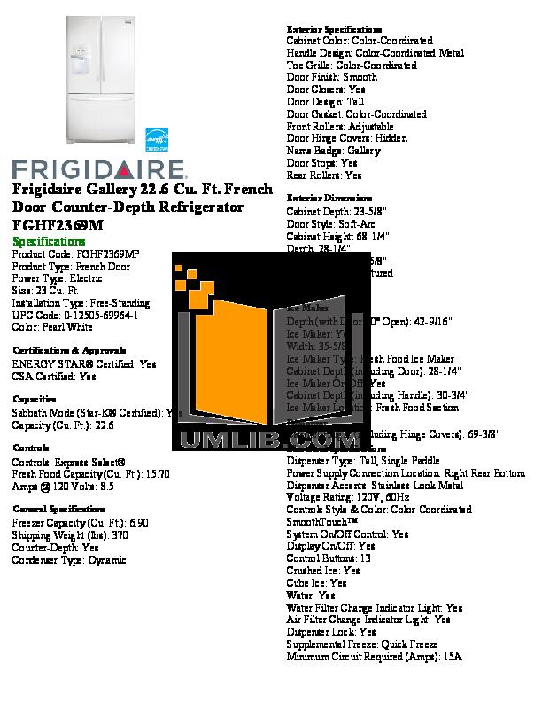 pdf for Frigidaire Refrigerator Gallery FGHF2369M manual