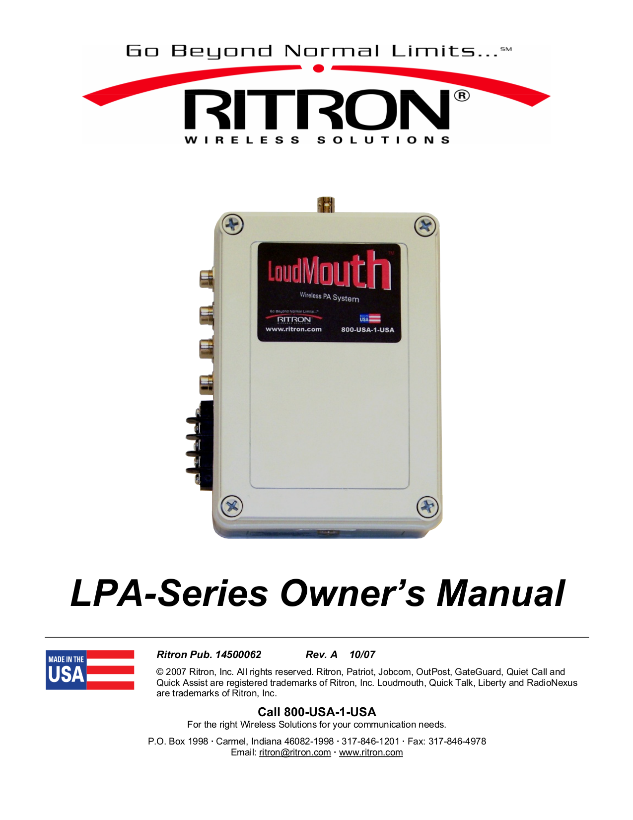 pdf for Ritron Other LoudMouth LPA-V150 PA Systems manual