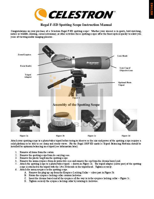 pdf for Celestron Other Zoom Master II Spotting Scope manual