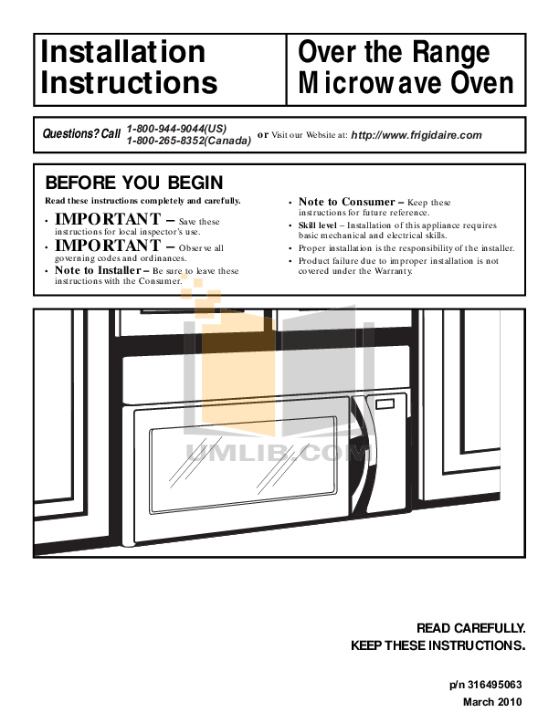 download free pdf for frigidaire ffmv162ls microwave manual rh umlib com frigidaire microwave oven installation manual frigidaire gallery microwave installation instructions