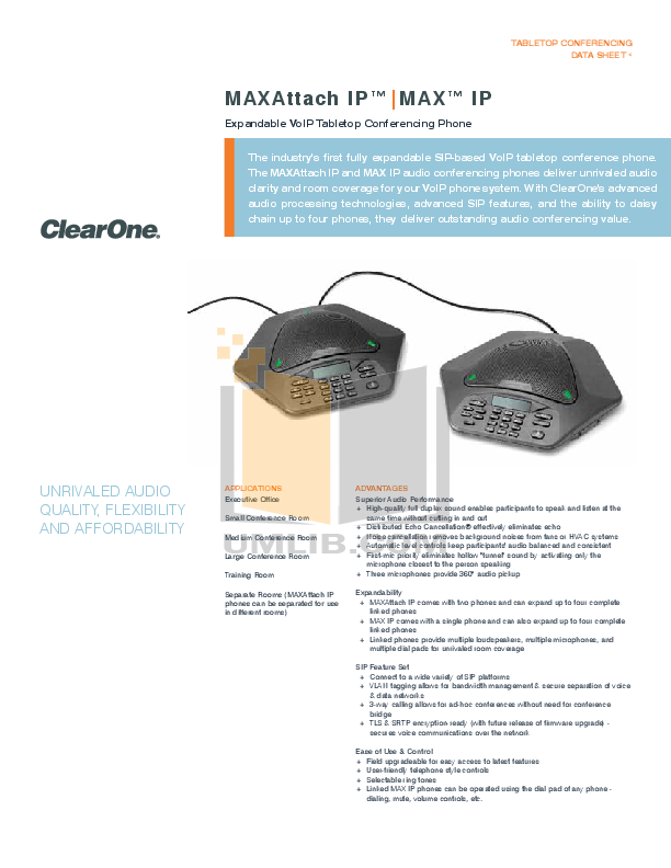pdf for ClearOne Telephone MAX Wireless manual