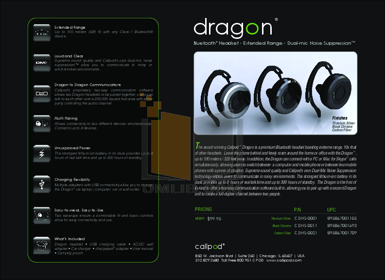 pdf for Callpod Headset Dragon manual