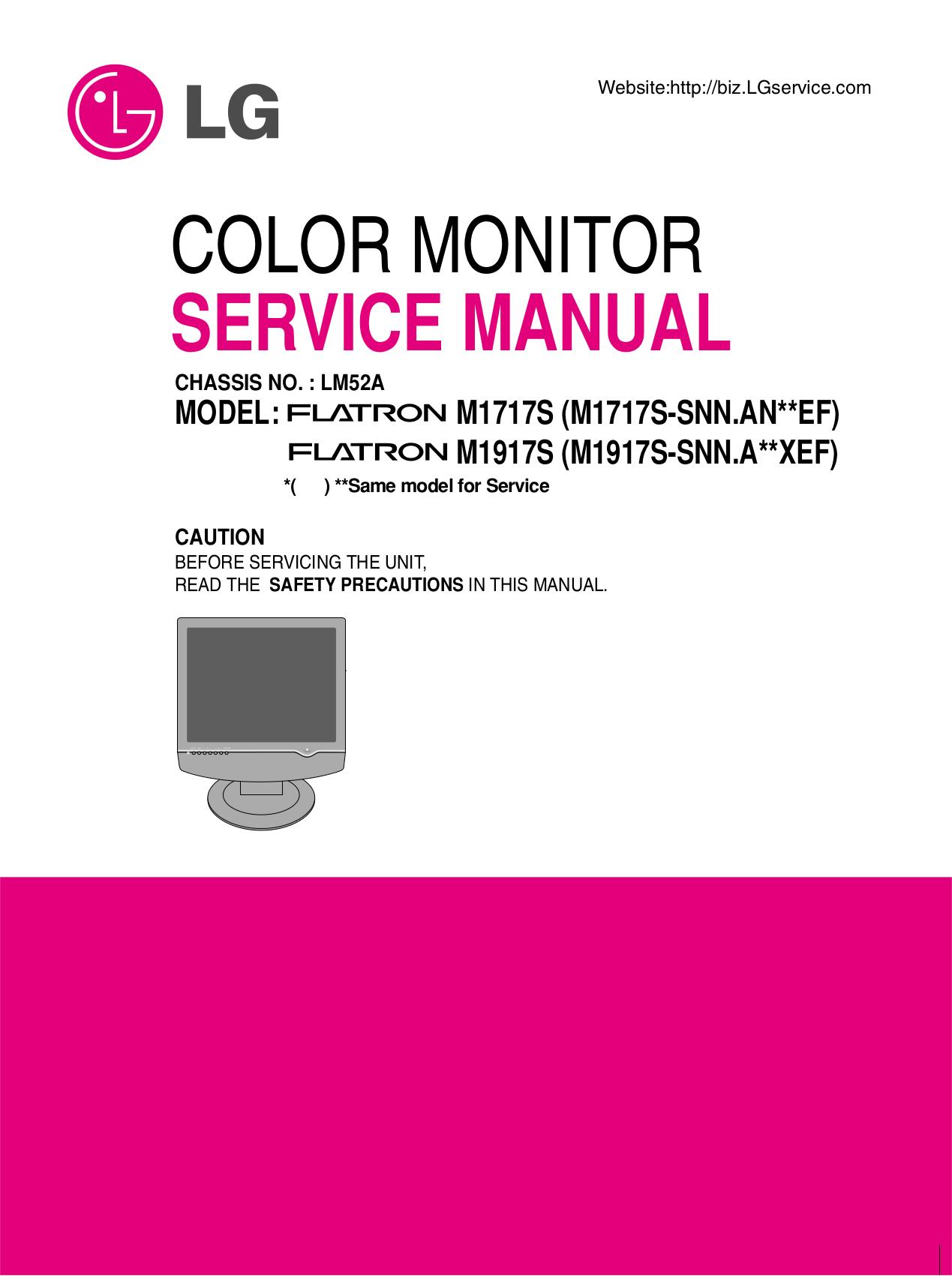 pdf for LG Monitor M1717S manual