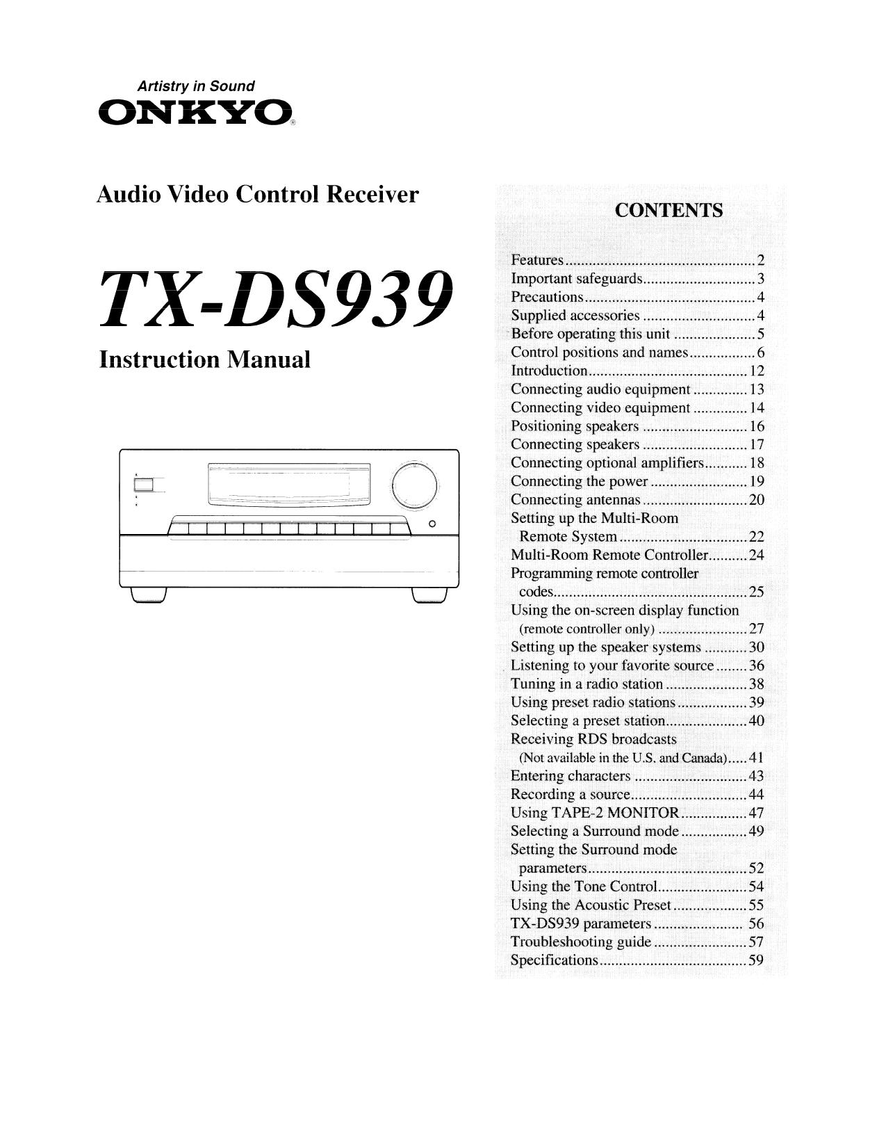 download free pdf for onkyo tx ds939 receiver manual rh umlib com onkyo tx-ds939 service manual onkyo tx-ds939 service manual
